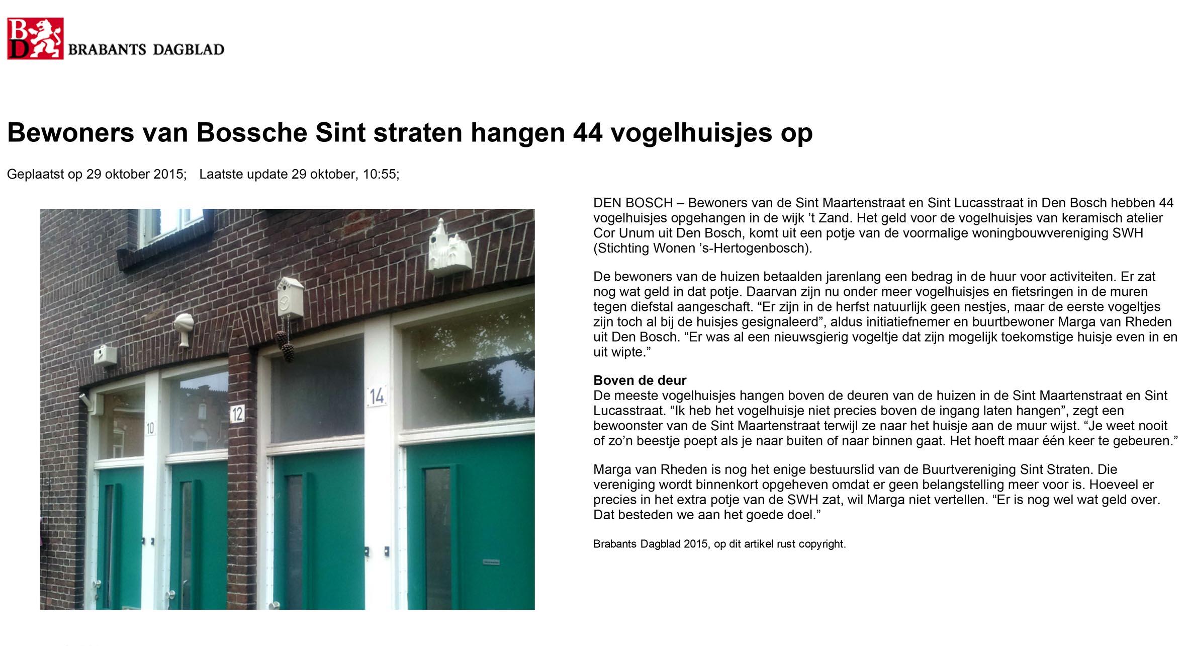 Bewoners van Bossche Sint straten hangen 44 vogelhuisjes op