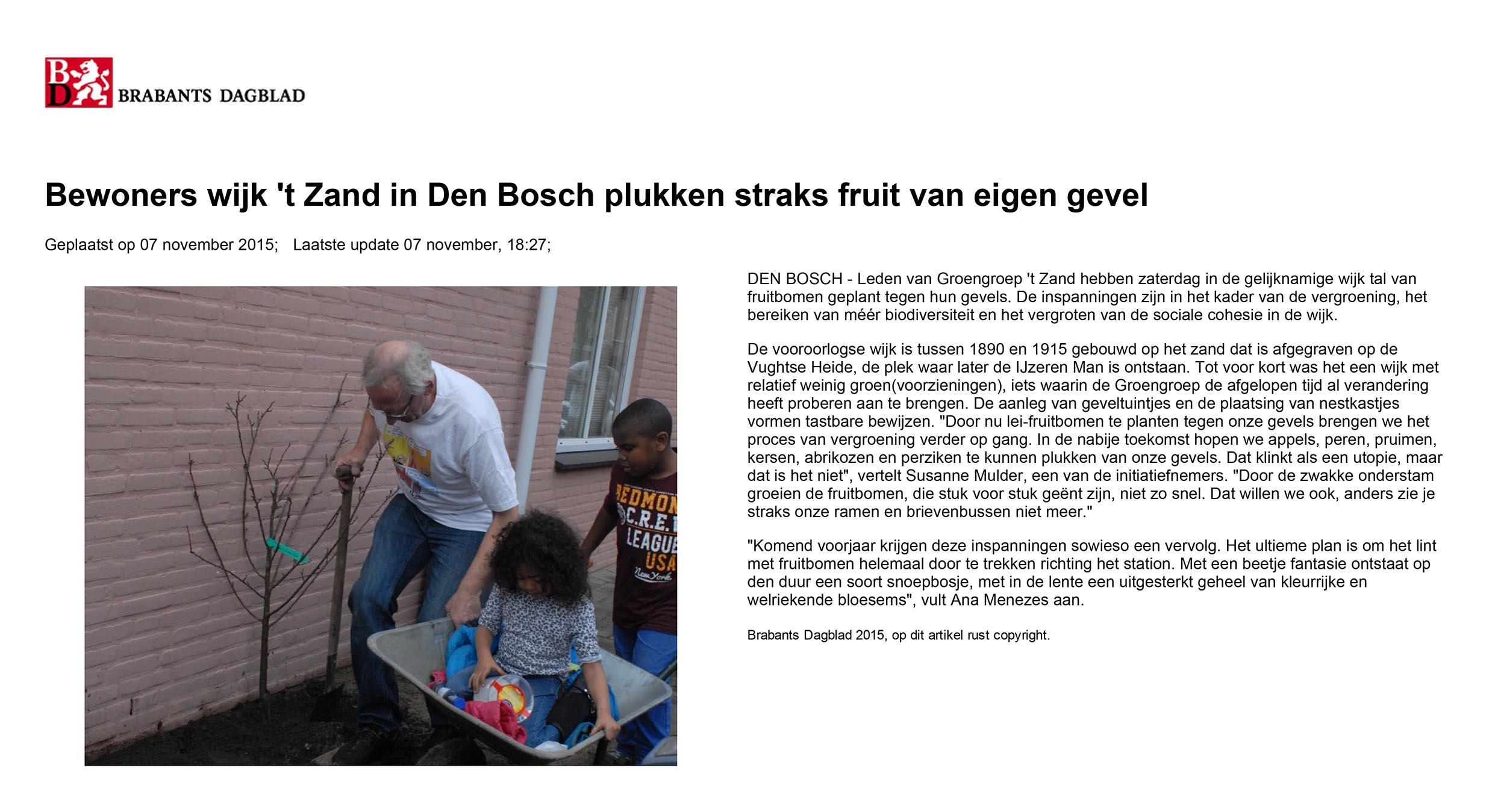 Bewoners wijk 't Zand in Den Bosch plukken straks fruit van eigen gevel